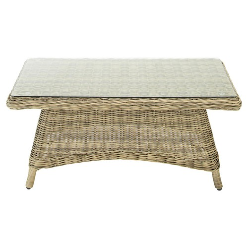 Table basse de jardin en verre tremp et r sine tress e l 100 cm saint rapha - Table basse jardin resine tressee ...