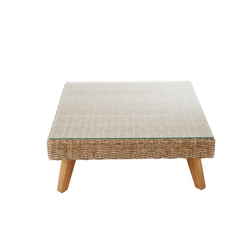 Table basse de jardin en verre tremp et r sine tress e l 80 cm feroe maiso - Table basse resine tressee ...