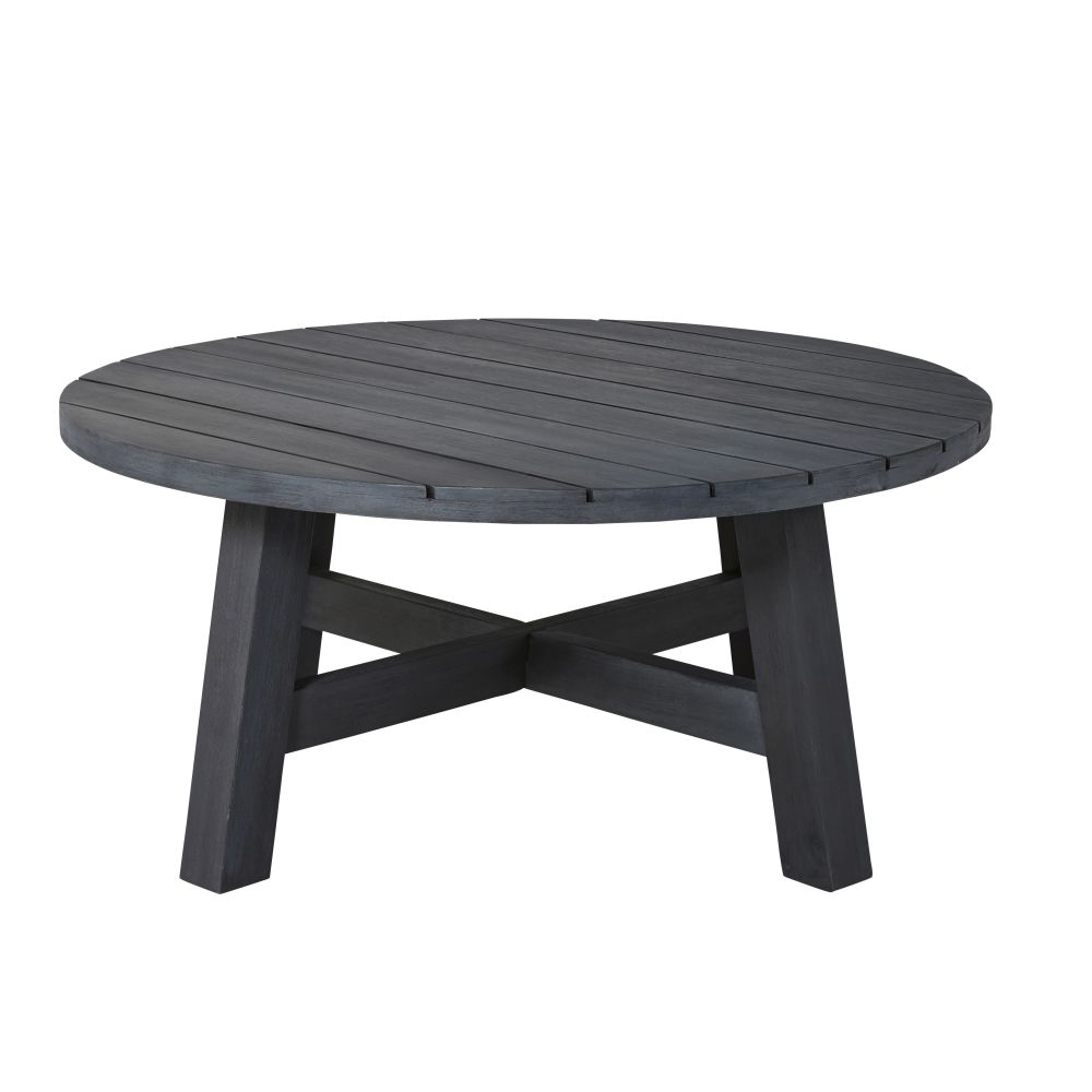 Table basse de jardin ronde en acacia massif noir Perissa (photo)