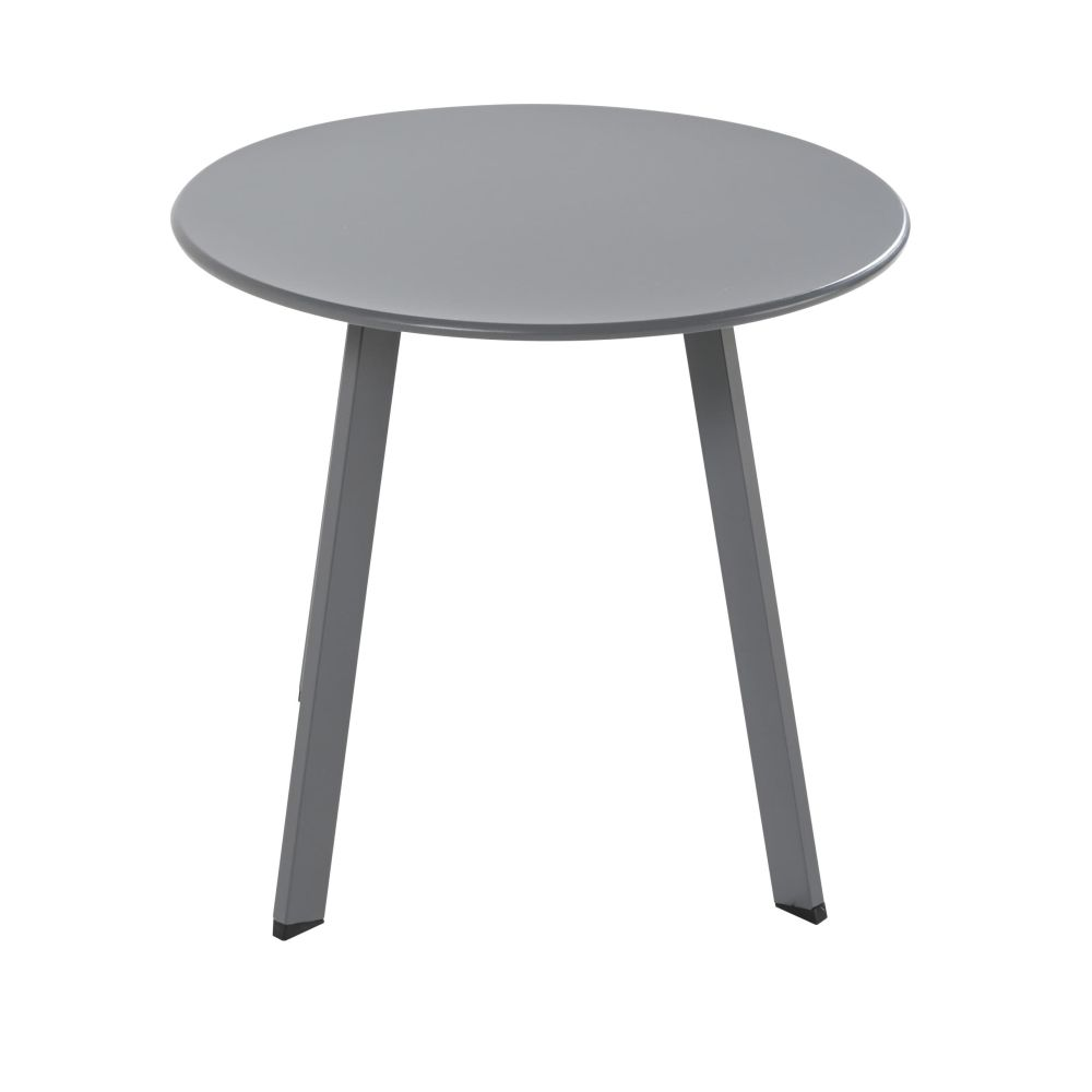 Table basse de jardin ronde en métal gris anthracite Monopoli (photo)