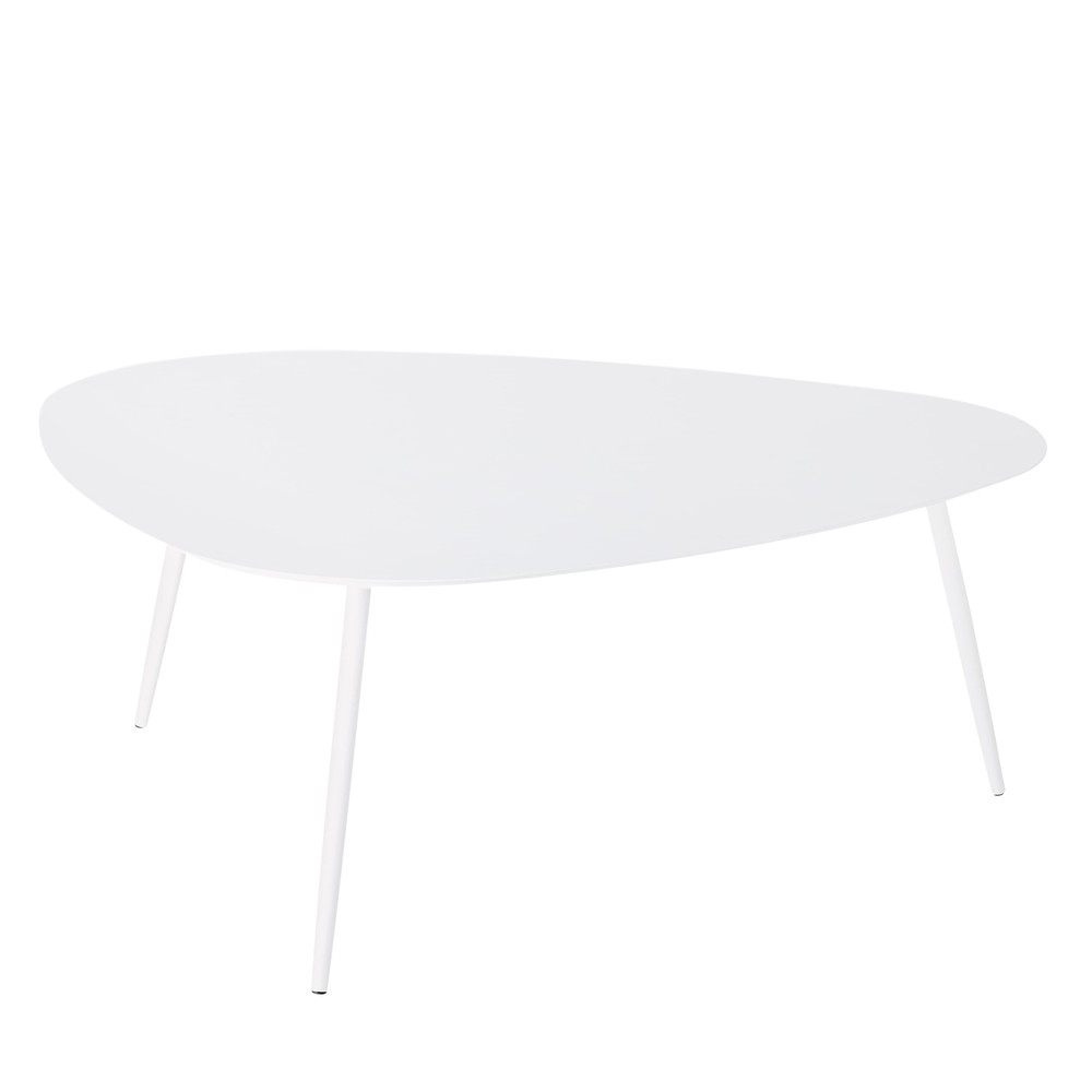 Stunning table basse jardin metal blanc images bikeparty for Table jardin metal gris
