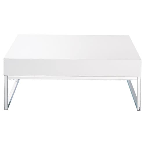 table basse en bois et m tal chrom blanc laqu l 80 cm easy maisons du monde. Black Bedroom Furniture Sets. Home Design Ideas