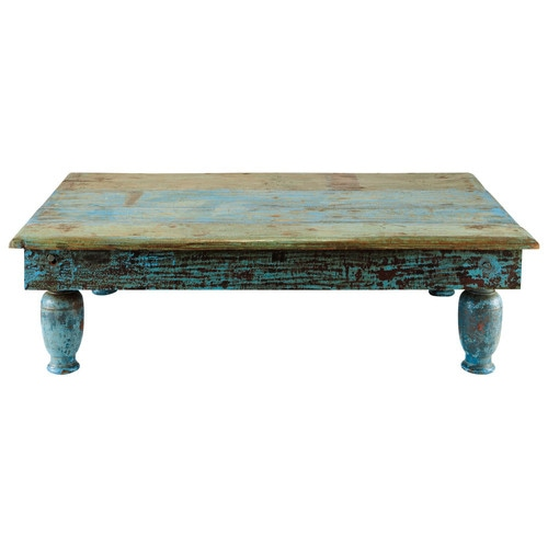 table basse en bois recycl bleue effet vieilli l 122 cm. Black Bedroom Furniture Sets. Home Design Ideas