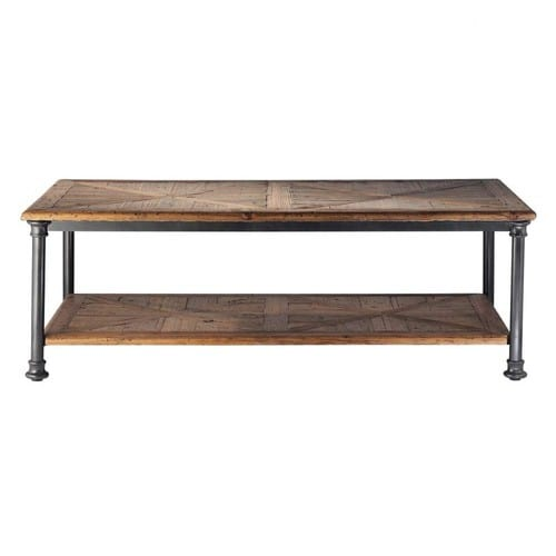 table basse en bois recycl et m tal l 135 cm. Black Bedroom Furniture Sets. Home Design Ideas