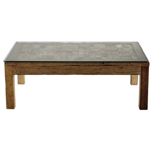 table basse en bois recycl et verre tremp l 120 cm batik. Black Bedroom Furniture Sets. Home Design Ideas