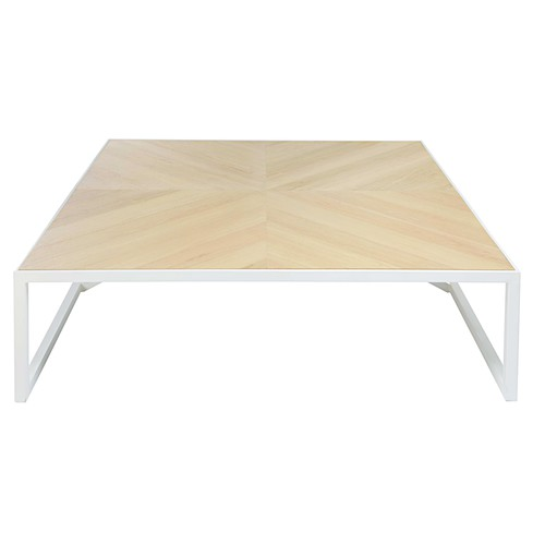 Table basse en ch ne cir et m tal blanc wind maisons du for Table basse chene metal