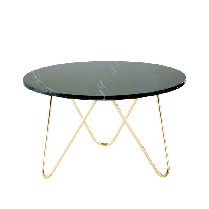 Table Basse En Marbre Noir Et Metal Dore