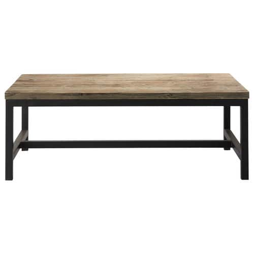 Table basse indus en bois et m tal long island maisons for Table basse bois metal