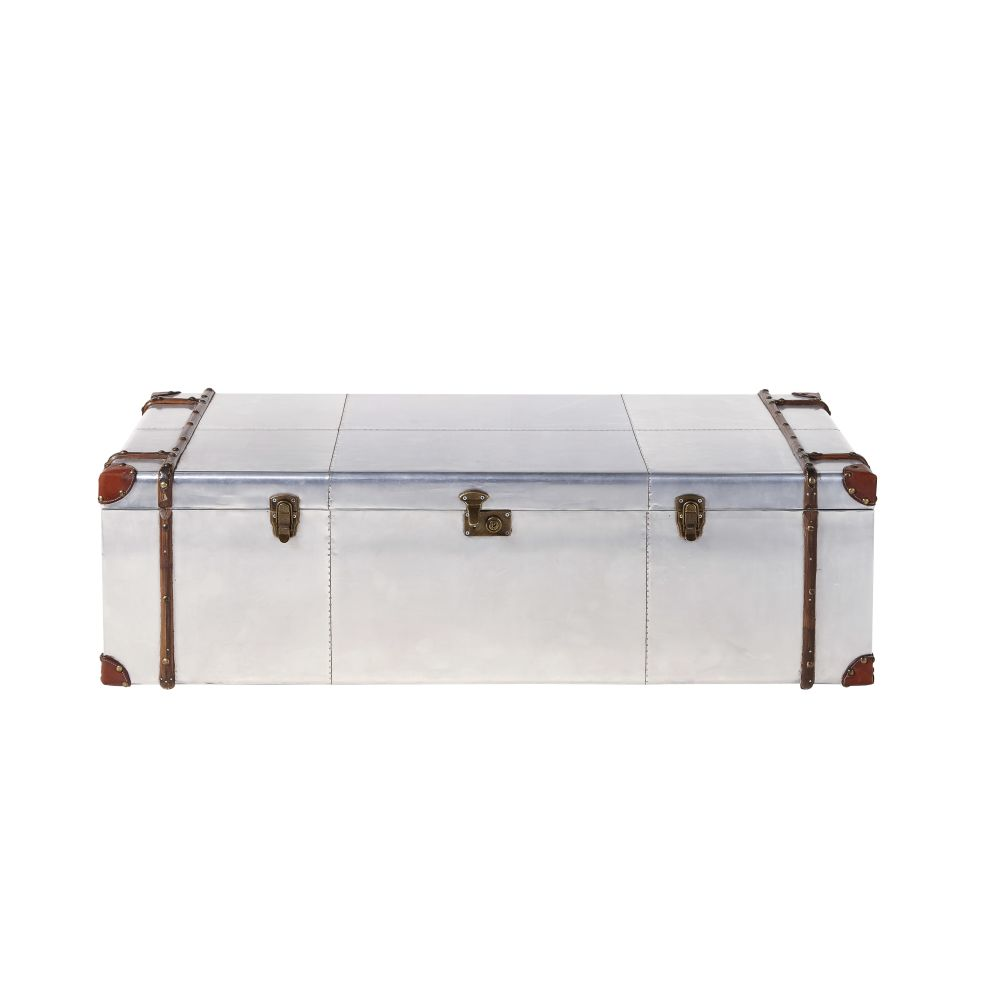 Table basse malle en aluminium clouté Cruse