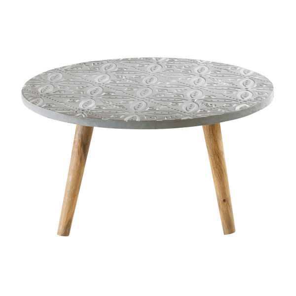 Table basse ronde blanc for Table basse effet beton