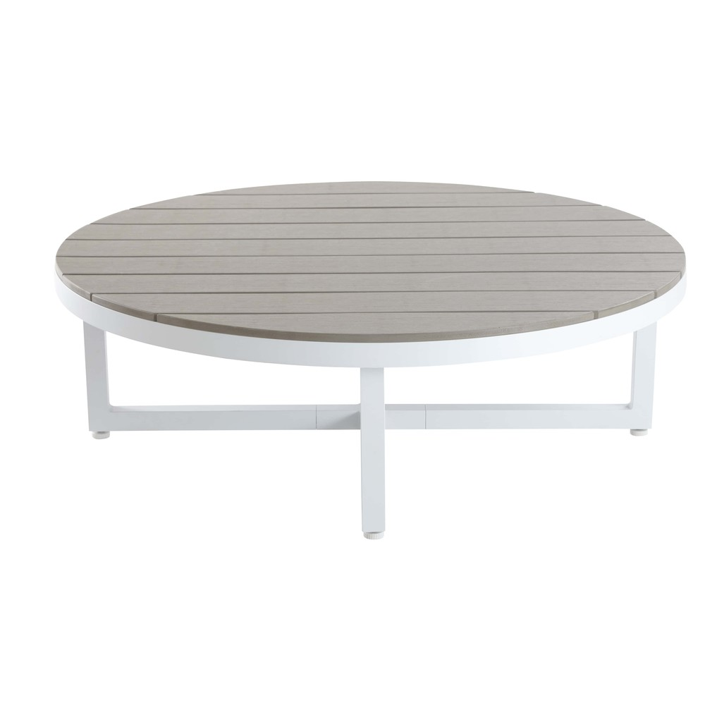 Table basse ronde en aluminium et composite Escale