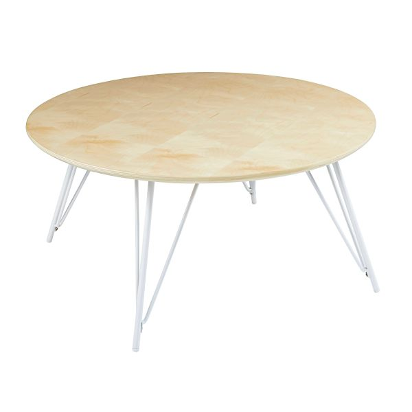 Table basse ronde en métal blanc D.80cm Bow