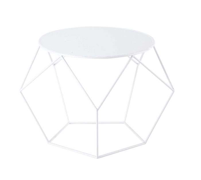 Table Basse Metal Blanc.Table Basse Ronde En Metal Blanche D 64 Cm