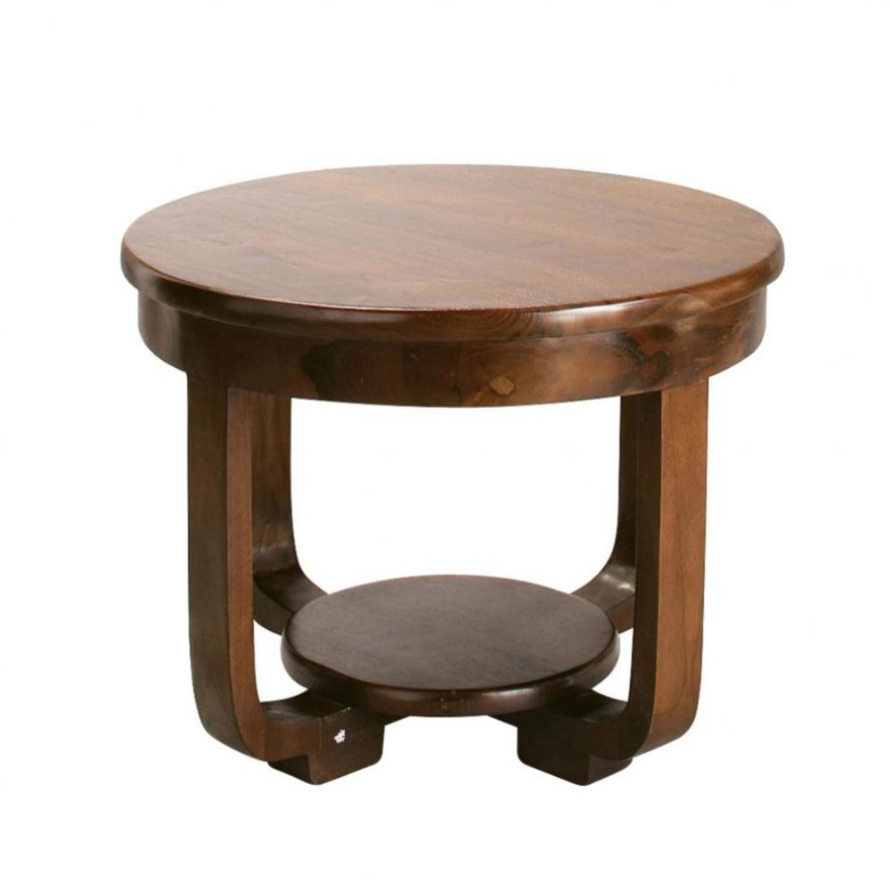 Table basse ronde en teck massif D 60 cm Charleston