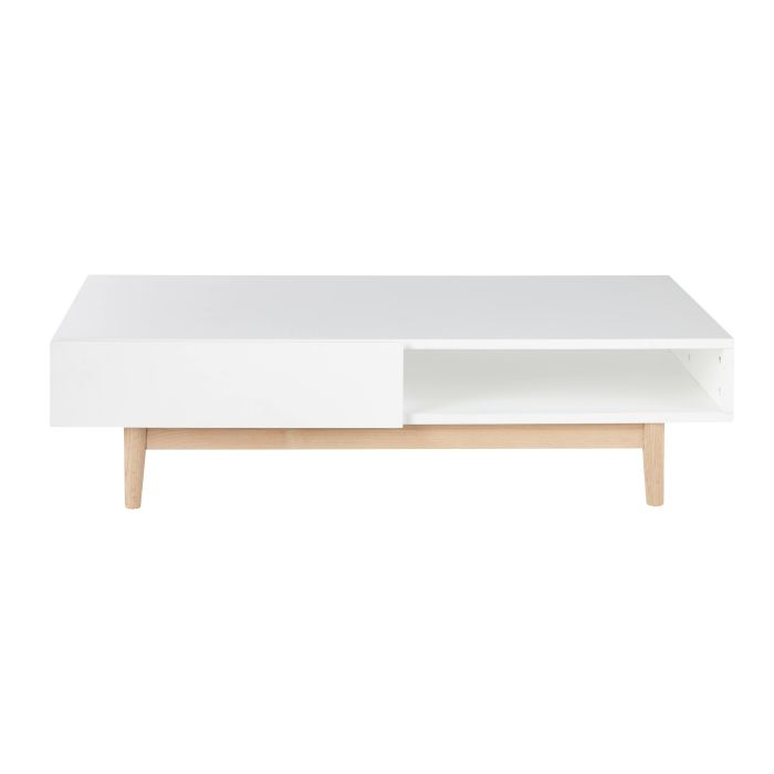Table Basse Style Scandinave 2 Tiroirs Blanche