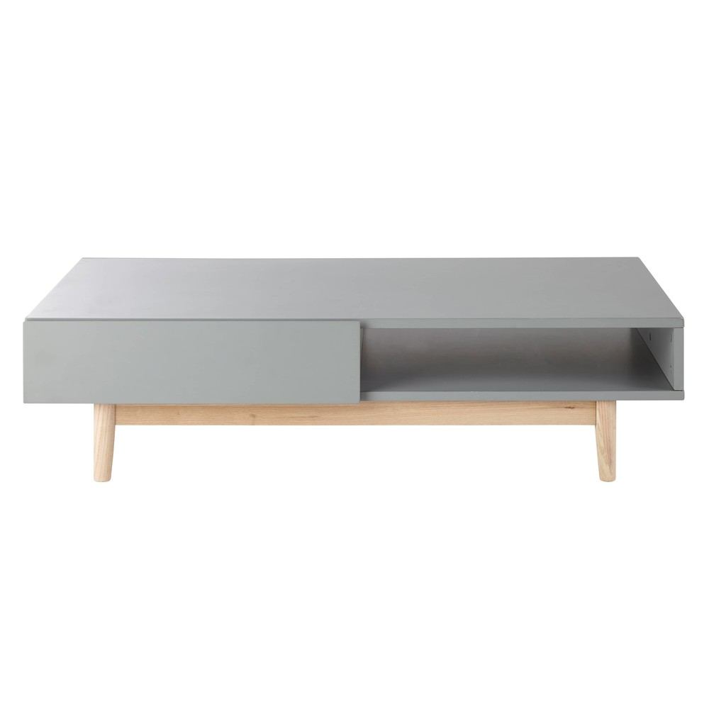Table basse style scandinave 2 tiroirs grise Artic