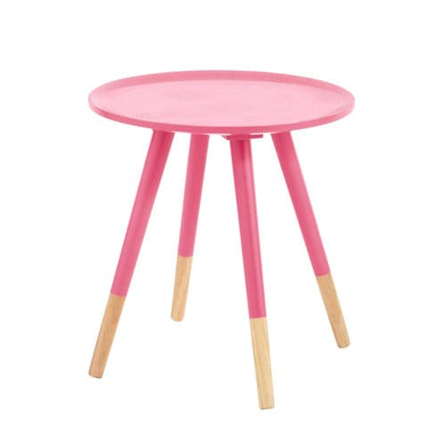 Table basse vintage en bois rose fluo l 40 cm dekale - Table basse rose ...