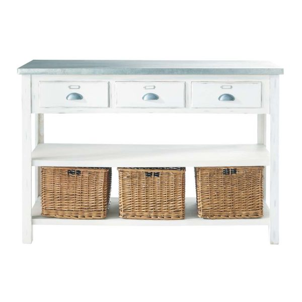 Table console blanche 3 paniers Sorgues (photo)