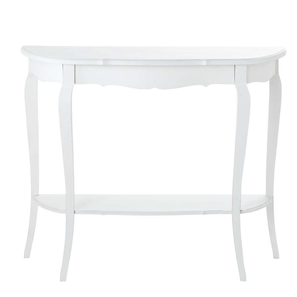 Table console en bois blanche L 94 cm Séraphine (photo)