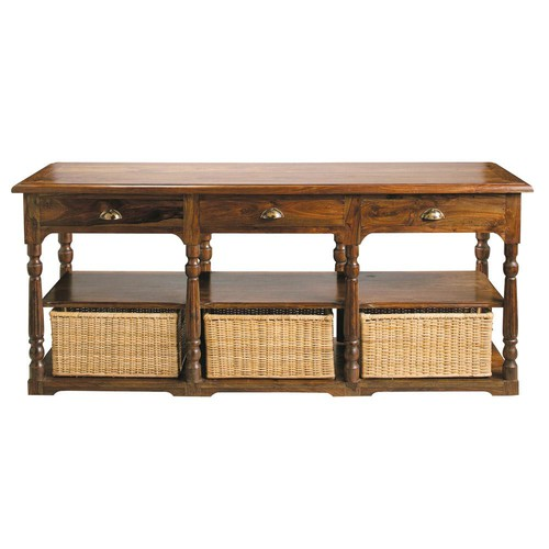 Table console en bois de sheesham massif l 180 cm luberon - Table console en bois ...