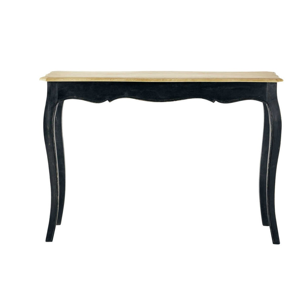 Table console en manguier massif noire Versailles (photo)