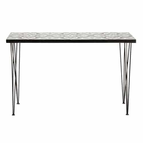 table console en m tal et carreaux de ciment l 120 cm mosaic maisons du monde. Black Bedroom Furniture Sets. Home Design Ideas