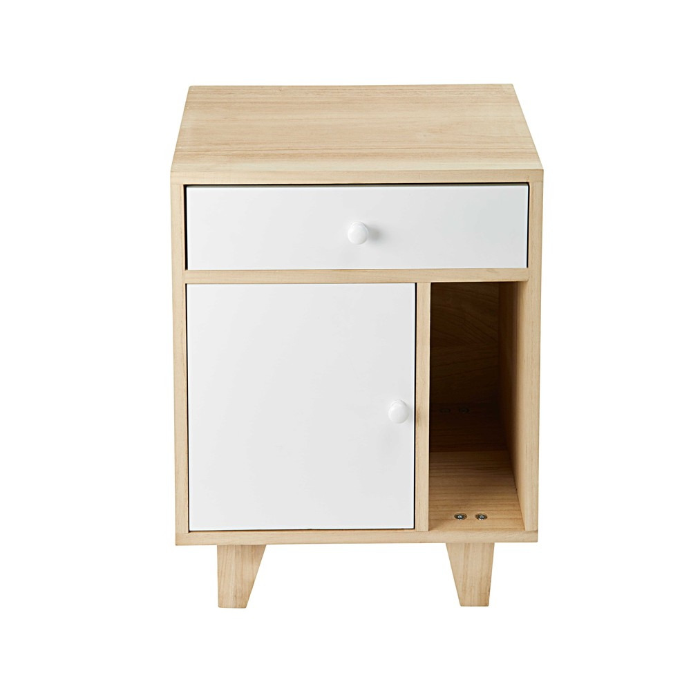 Table de chevet 1 porte 1 tiroir en paulownia blanc Spring (photo)