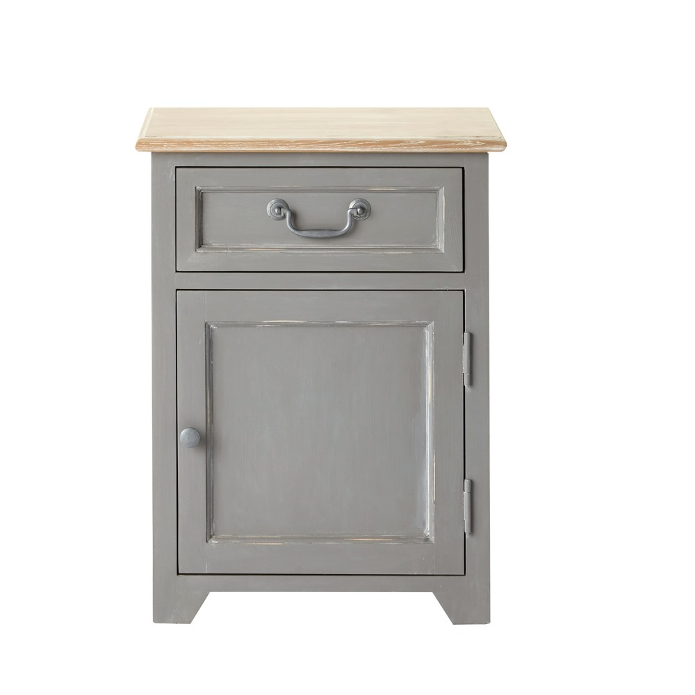 Table de chevet 1 porte 1 tiroir en pin gris Honorine (photo)