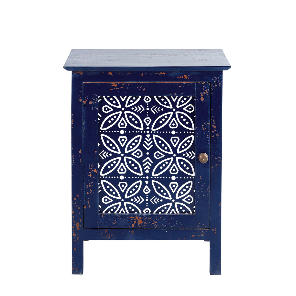 Table de chevet 1 porte en manguier massif bleu Shibori (photo)