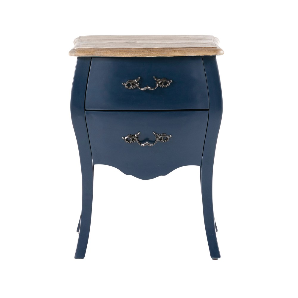 Table de chevet 2 tiroirs bleu nuit haute couture photo - Table de nuit haute ...