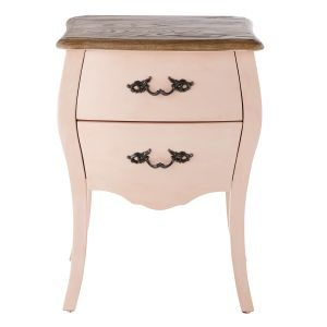 table de chevet 2 tiroirs rose clair