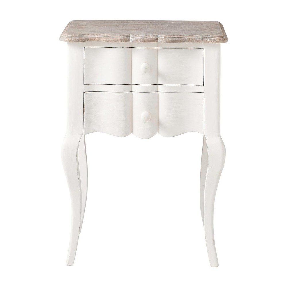 Table de chevet avec tiroirs en manguier blanche L 48 cm Martigues (photo)
