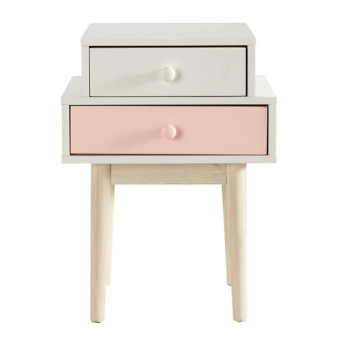 Table de chevet en bois blanche l 42 cm blush maisons du monde for Table de chevet campagne
