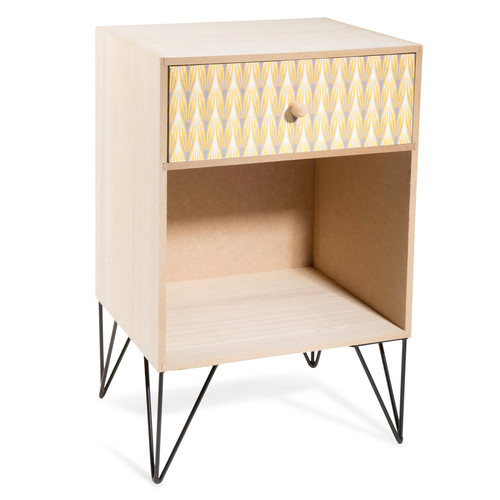 table de chevet en bois l 30 cm yellow summer maisons du monde. Black Bedroom Furniture Sets. Home Design Ideas