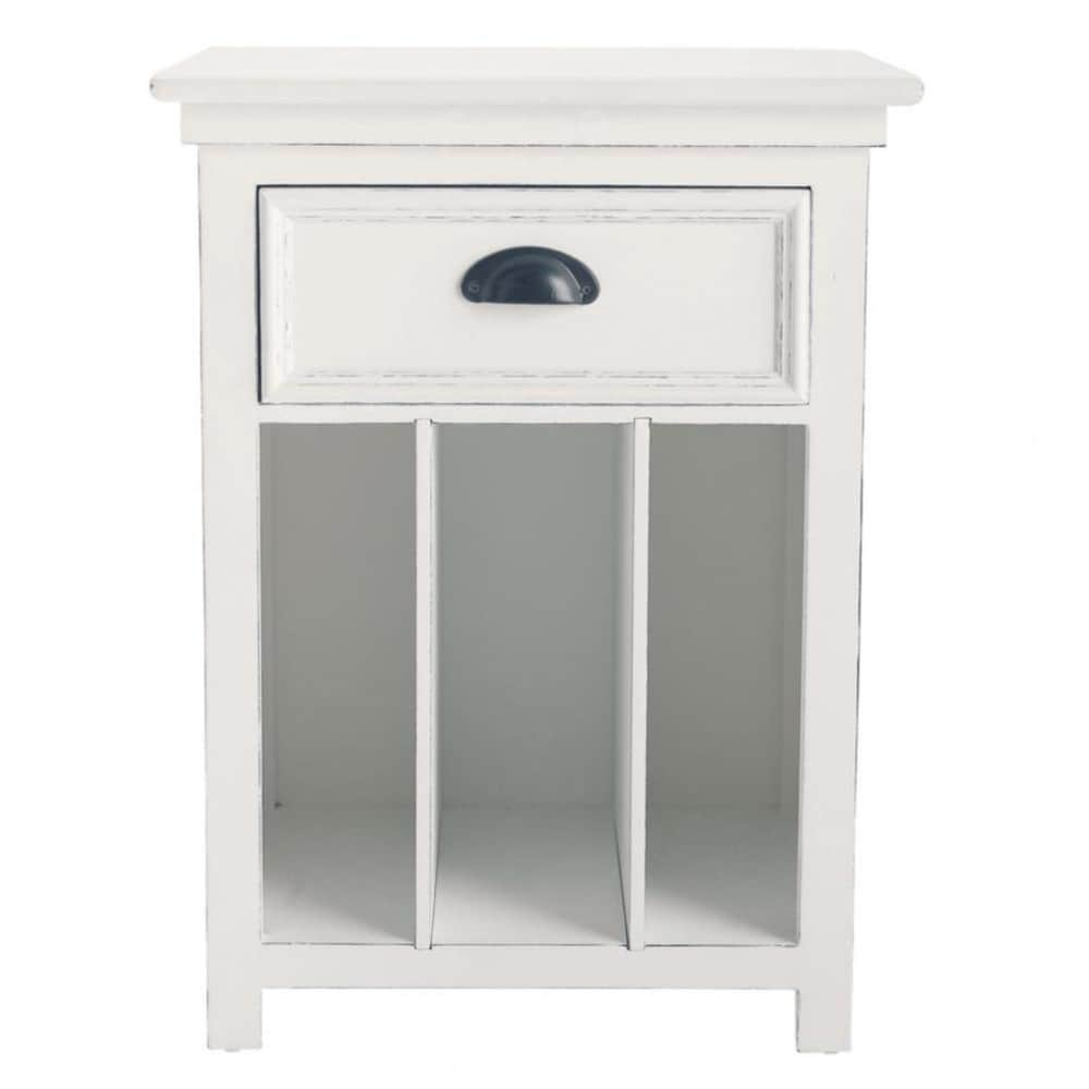 Table de chevet en pin blanc avec tiroir L 45 cm Newport (photo)