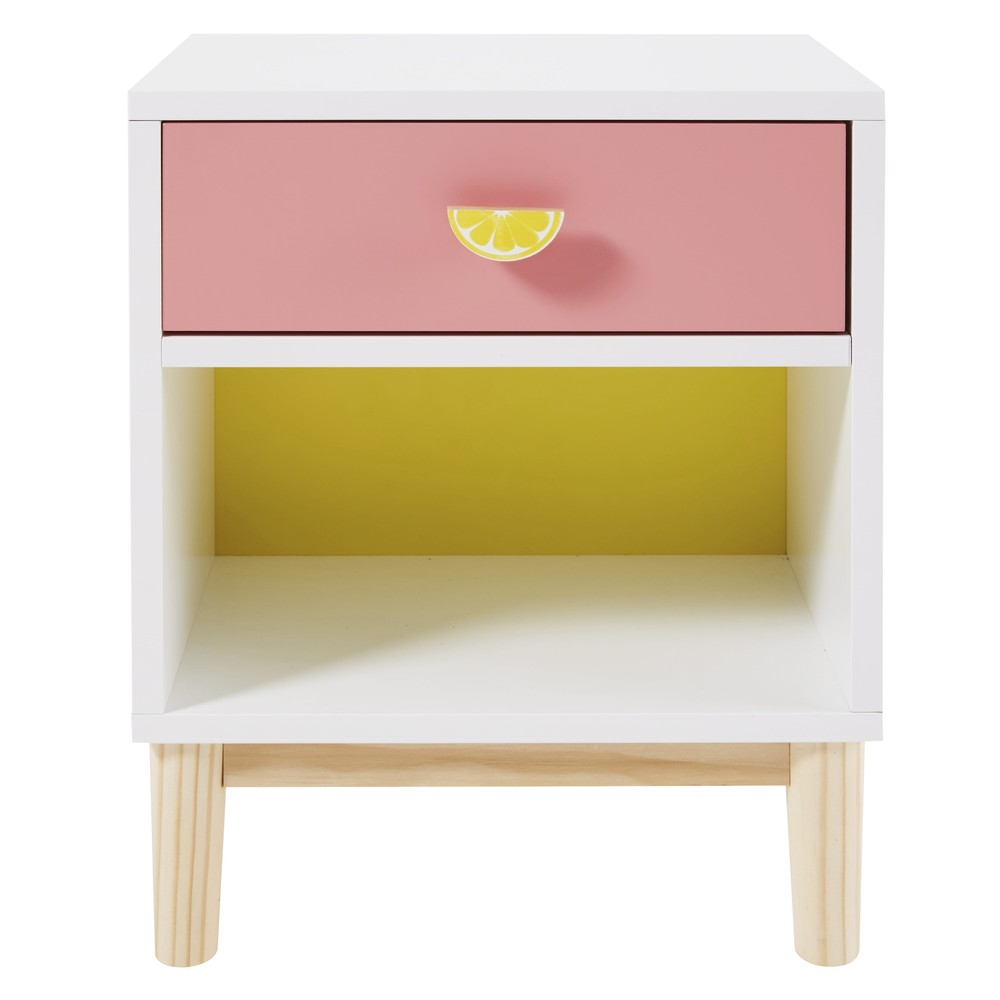 Table de chevet enfant blanche, rose et jaune Tropicool (photo)