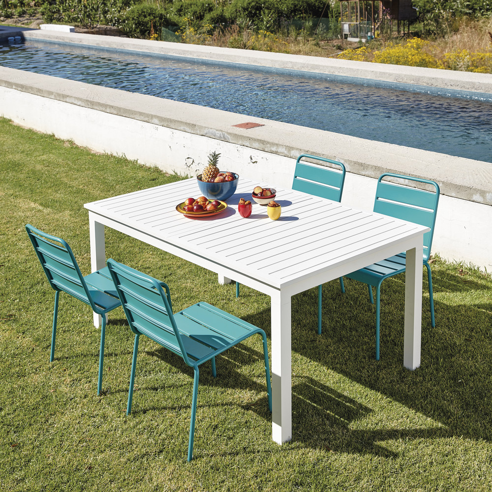 Best table de jardin blanche aluminium ideas bikeparty - Table jardin aluminium avec rallonge ...