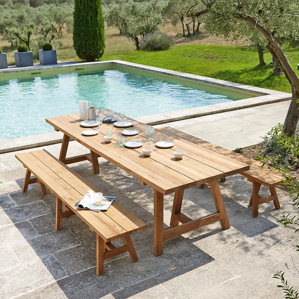 stunning table de jardin en teck recycle pictures. Black Bedroom Furniture Sets. Home Design Ideas