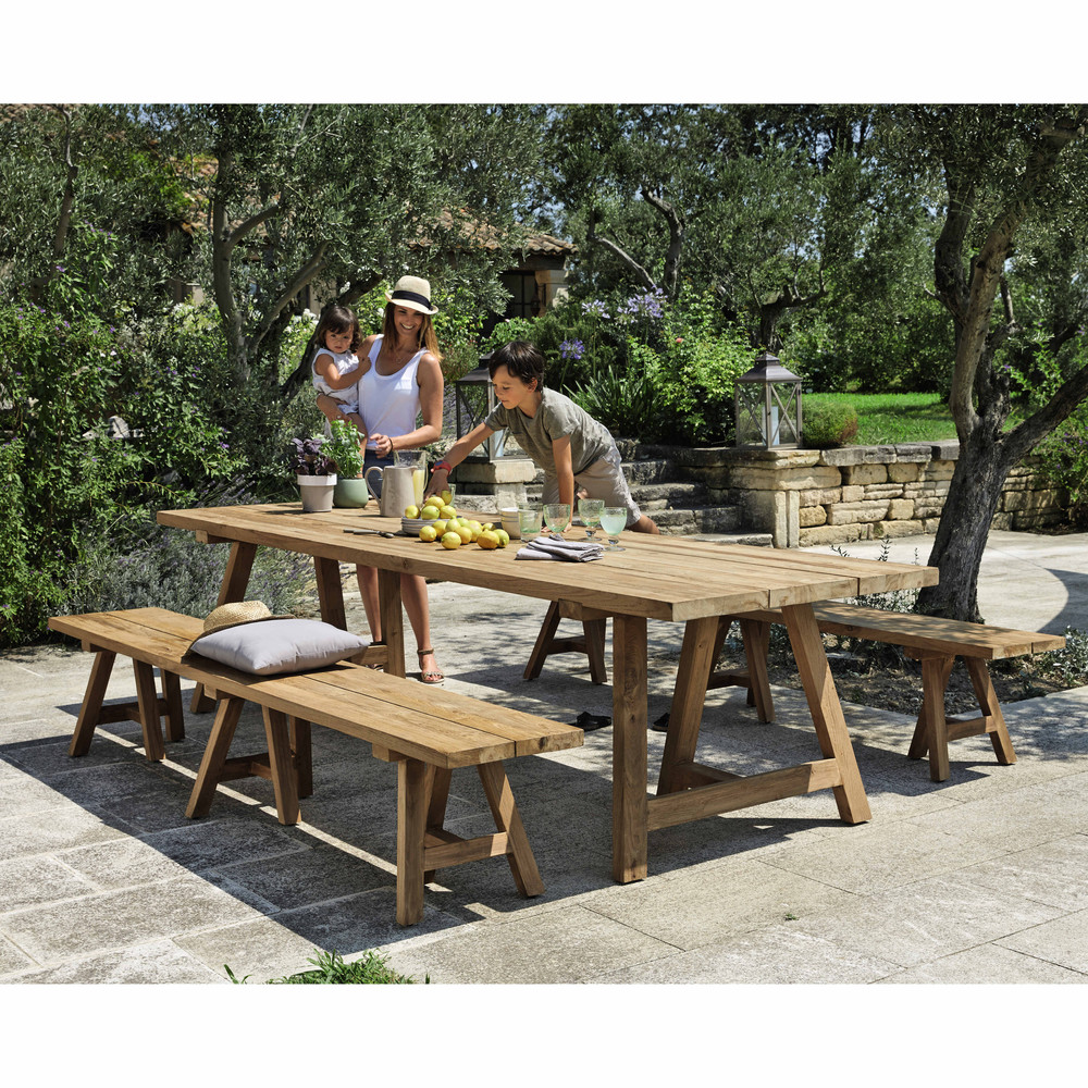 Emejing table de jardin en teck recycle ideas awesome for Table 12 personnes