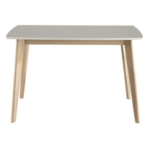 Table de salle manger en bois blanche l 120 cm mia for Table a manger 120 cm