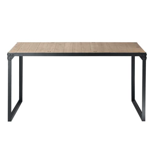 table de salle manger indus en bois et m tal l 140 cm. Black Bedroom Furniture Sets. Home Design Ideas