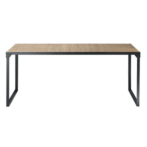 table de salle manger indus en bois et m tal l 180 cm. Black Bedroom Furniture Sets. Home Design Ideas