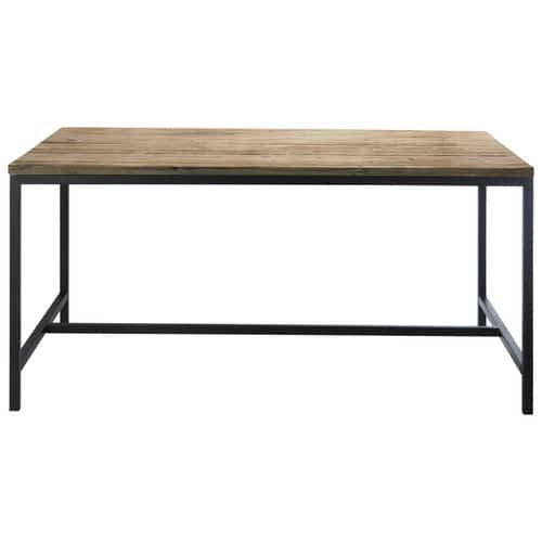 table de salle manger indus en bois massif et m tal l 150 cm long island maisons du monde. Black Bedroom Furniture Sets. Home Design Ideas