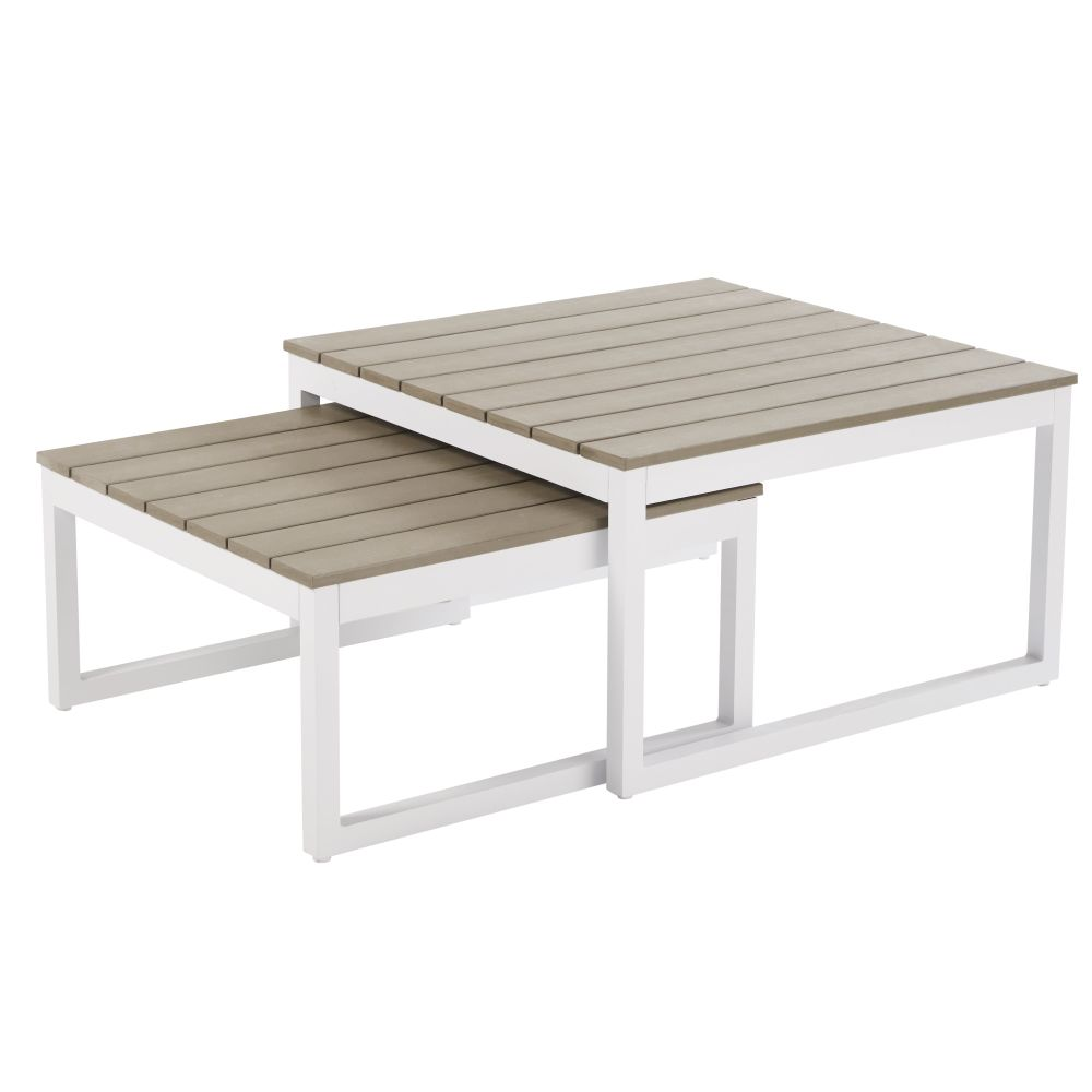Tables gigognes de jardin en aluminium blanc Escale (photo)