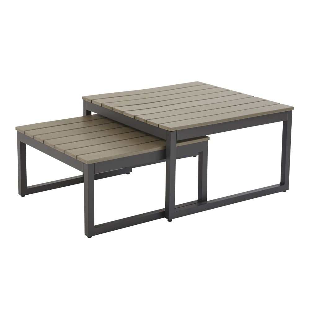 Tables gigognes de jardin en aluminium gris anthracite Escale (photo)