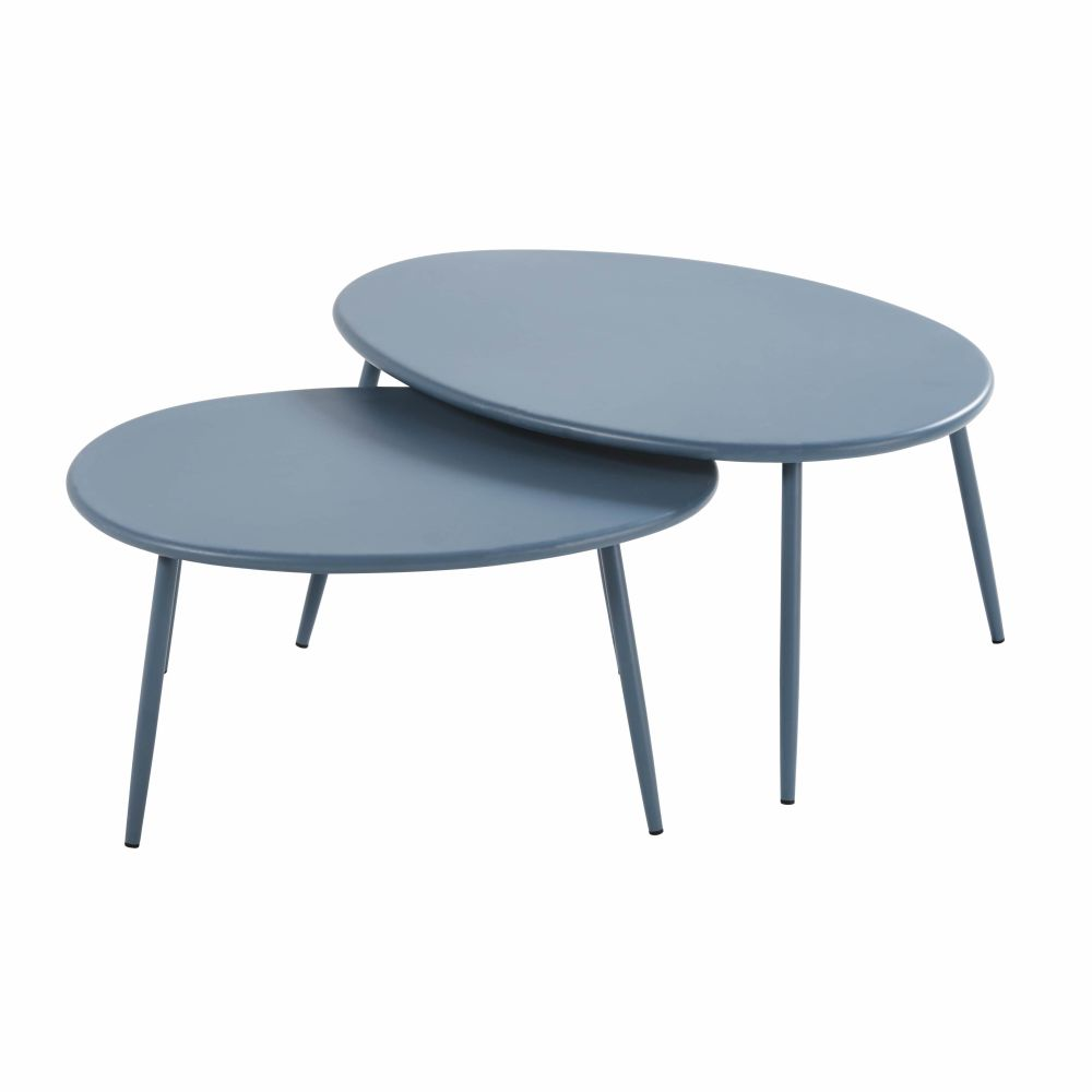 Tables gigognes de jardin en métal gris bleu Lumpa (photo)