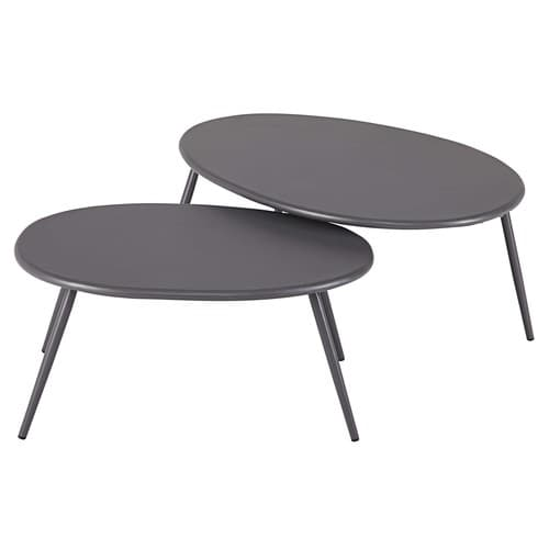 Tables gigognes de jardin en m tal gris lumpa maisons du for Table jardin metal gris