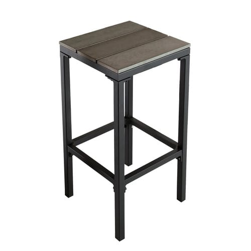 tabouret de bar de jardin en composite imitation bois et aluminium escale maisons du monde. Black Bedroom Furniture Sets. Home Design Ideas