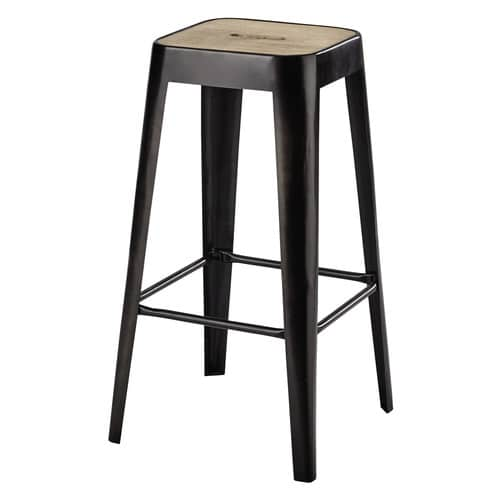tabouret de bar en manguier et m tal manufacture maisons du monde. Black Bedroom Furniture Sets. Home Design Ideas