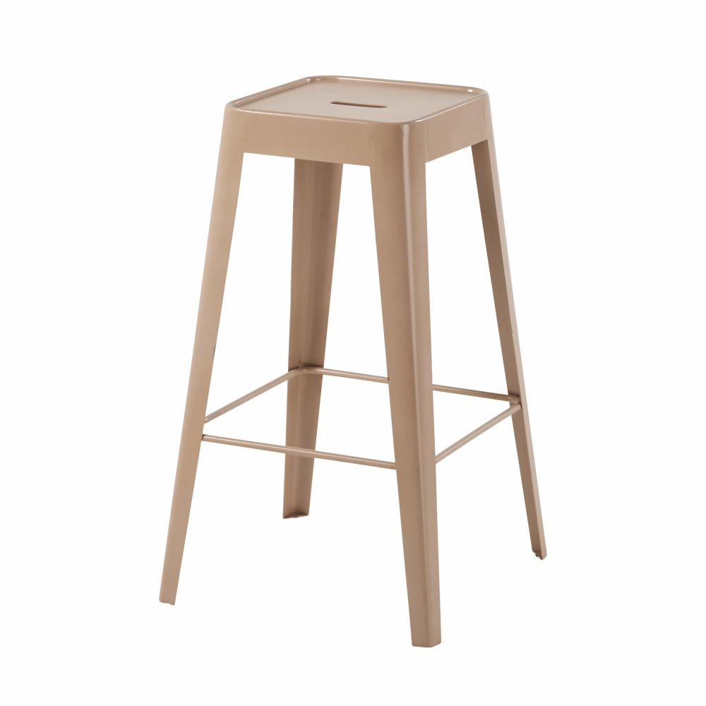 Tabouret de bar en métal beige rosé Tom (photo)